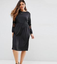 Платье миди с длинными рукавами и кружевными вставками ASOS CURVE - Черный