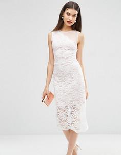 Кружевное платье миди с фактурной отделкой по краю ASOS TALL - Белый