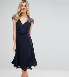 Кружевное платье миди ASOS TALL Kate - Темно-синий