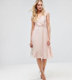 Кружевное платье миди ASOS TALL Kate - Бежевый