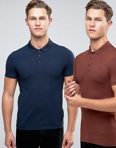 Набор из 2 обтягивающих футболок-поло (каштановая/темно-синяя) ASOS - СКИДКА - Мульти
