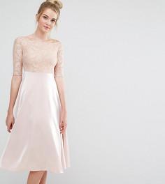 Платье миди для выпускного с кружевным топом и широким вырезом True Decadence Tall - Бежевый