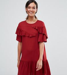 Платье с рюшами, заниженной талией и короткими рукавами ASOS PETITE - Фиолетовый