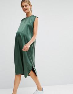 Платье миди для беременных с атласным передом ASOS Maternity - Зеленый