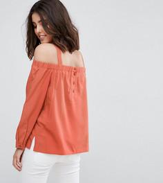 Топ на пуговицах сзади с открытыми плечами ASOS PETITE - Оранжевый