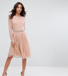 Платье с длинными рукавами и кружевной вставкой Y.A.S Tall - Розовый