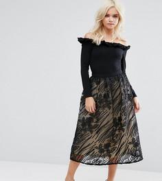 Пышная кружевная юбка миди Little Mistress Petite - Черный