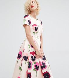 Атласное платье для выпускного с ярким цветочным принтом Horrockses Iris - Мульти