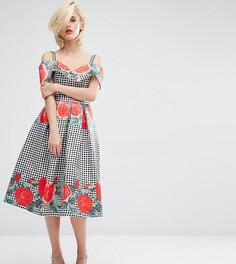 Платье миди с открытыми плечами и принтом Horrockses - Мульти