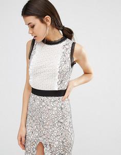 Платье-футляр миди с кружевной отделкой True Decadence Tall - Мульти