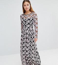 Кружевное платье макси с вышивкой True Decadence Petite - Мульти