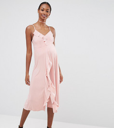 Платье миди для беременных на бретельках с оборками ASOS Maternity WEDDING - Розовый