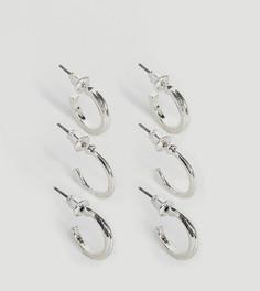 Набор из 3 пар серебристых сережек DesignB - Серебряный