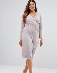 Плиссированное платье-футляр с запахом ASOS CURVE - Серый
