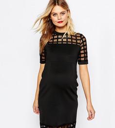 Платье для беременных с решетчатой вставкой ASOS Maternity PETITE - Черный
