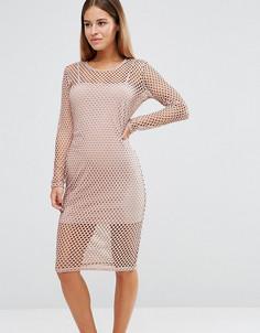 Сетчатое облегающее платье John Zack Petite - Розовый