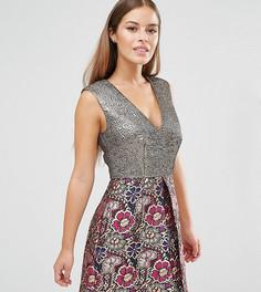 Жаккардовое платье мини с цветочным принтом ASOS PETITE - Мульти