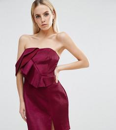 Платье мини металлик на одно плечо с рюшами ASOS PETITE NIGHT - Розовый