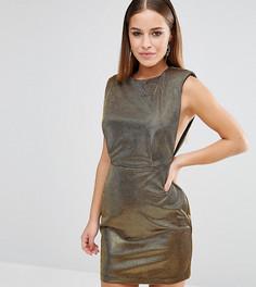 Платье мини с эффектом металлик и углубленной проймой ASOS PETITE NIGHT - Золотой