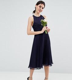 Платье миди со сборками и плиссировкой ASOS PETITE WEDDING - Темно-синий