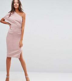 Платье миди на одно плечо с глубокими складками и открытой молнией ASOS TALL - Розовый