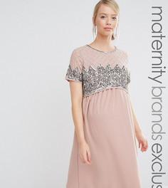 Двухслойное платье миди с отделкой на лифе Maya Maternity - Фиолетовый