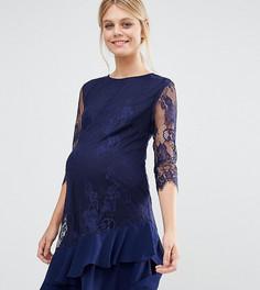 Кружевное цельнокройное платье для беременных Little Mistress Maternity - Темно-синий