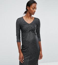 Блестящее трикотажное платье с узлом спереди Mamalicious - Черный Mama.Licious