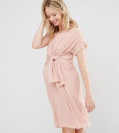Тканое платье с короткими рукавами и узелком спереди Mamalicious - Розовый Mama.Licious