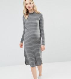 Трикотажное облегающее платье для беременных в полоску Mamalicious - Серый Mama.Licious