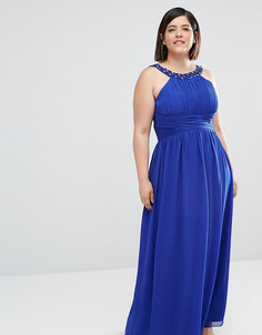 Платье макси с халтером и декоративной отделкой Little Mistress Plus - Синий