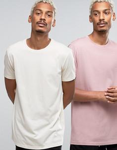 2 длинных футболки (бежевая, розовая) ASOS - СКИДКА - Мульти