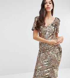 Платье миди с короткими рукавами и пайетками Club L - Золотой
