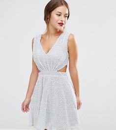 Платье мини с вырезами по бокам и отделкой ASOS PETITE - Серебряный