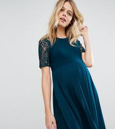 Платье мини для беременных с плиссировкой и кружевом ASOS Maternity - Синий