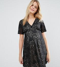 Короткое приталенное платье из кружева ASOS Maternity - Черный