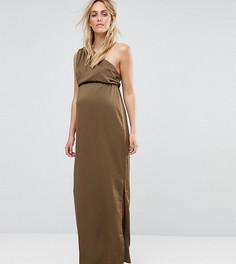 Драпированное платье макси на одно плечо для беременных ASOS Maternity - Зеленый