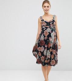 Шифоновое платье миди для беременных с цветочным принтом ASOS Maternity WEDDING - Мульти