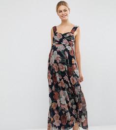 Шифоновое платье-бандо макси для беременных с цветочным принтом ASOS Maternity - Мульти