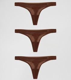 Комплект из 3 стрингов Gossard Glossies - Коричневый