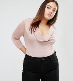 Боди с глубоким вырезом New Look Curve - Розовый