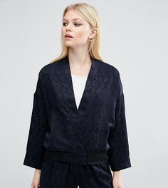 Комбинируемая жаккардовая куртка-пилот в пижамном стиле ASOS PETITE Lux - Темно-синий