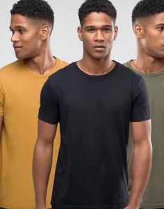 3 футболки (светло-коричневая, хаки, черная) ASOS - СКИДКА - Мульти