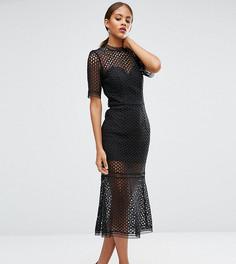 Кружевное платье миди Jarlo Tall - Черный