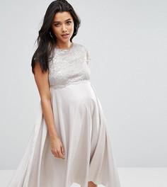 Приталенное платье миди для беременных ASOS Maternity - Серый