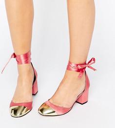 Туфли на каблуке с лентой для широкой стопы ASOS SHOW TIME - Розовый