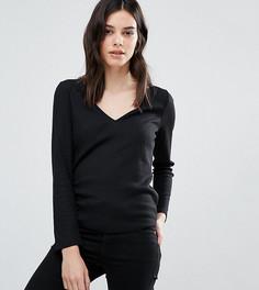 Меланжевая футболка с V-образным вырезом ASOS PETITE - Черный