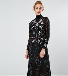 Кружевное платье миди с вышивкой Hope & Ivy - Черный