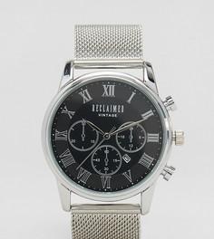 Серебристые часы с сетчатым ремешком и хронографом Reclaimed Vintage Inspired эксклюзивно для ASOS - Серебряный