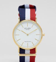 Часы с белым циферблатом и парусиновым ремешком в полоску Reclaimed Vintage Inspired эксклюзивно для ASOS - Мульти